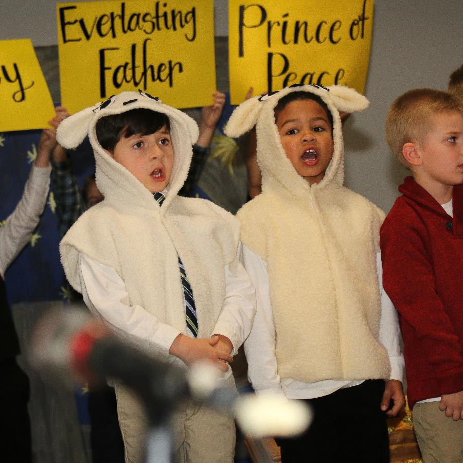 Boys singing in Christmas concert