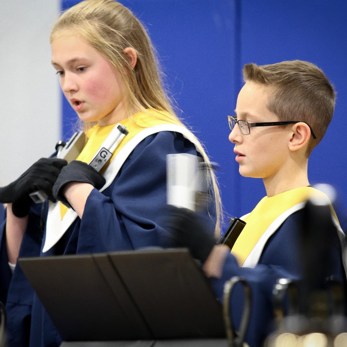 Students in handbell choir