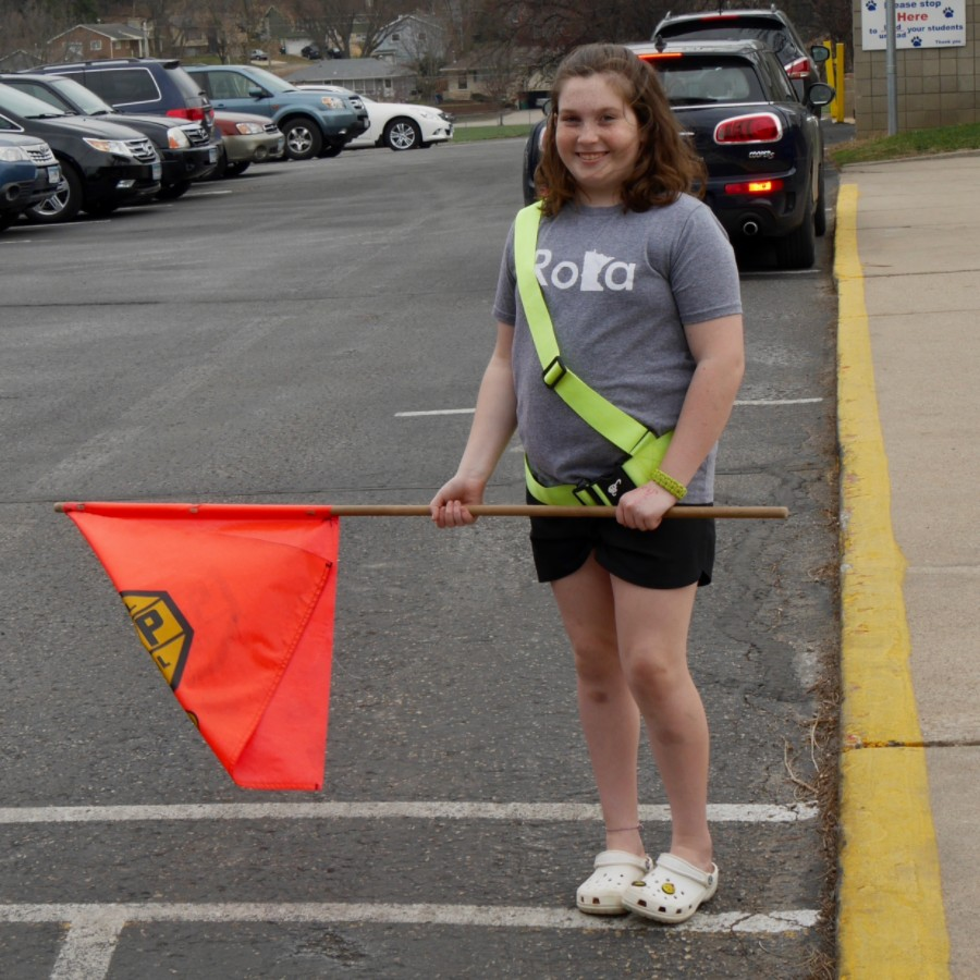 Safety guard student at crosswalk